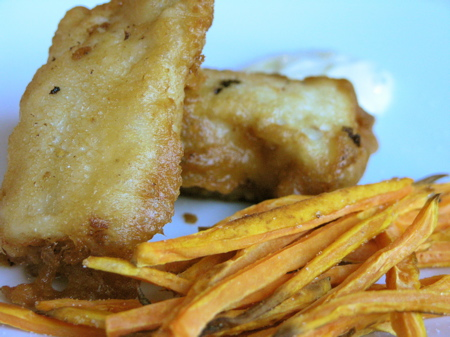 Pumpkin Ale Battered Fish & Chips