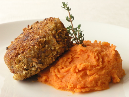 Pumpkin Seed Encrusted Lamb Loin Chops with Mashed Yams