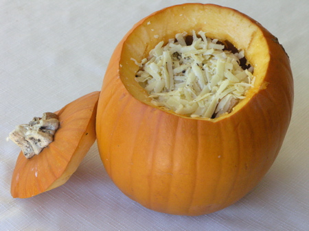 Layer the goodies inside the pumpkin
