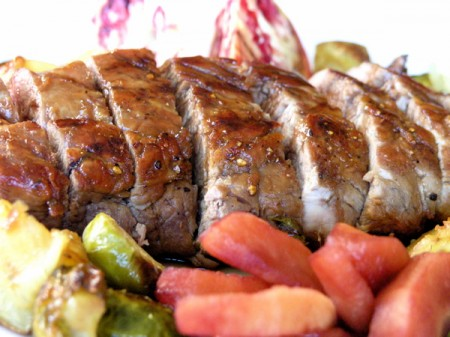 Apple Pomegranate Glazed Pork Tenderloin
