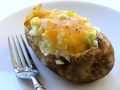 Twice Baked Potatoes with Cabbage and Edamame