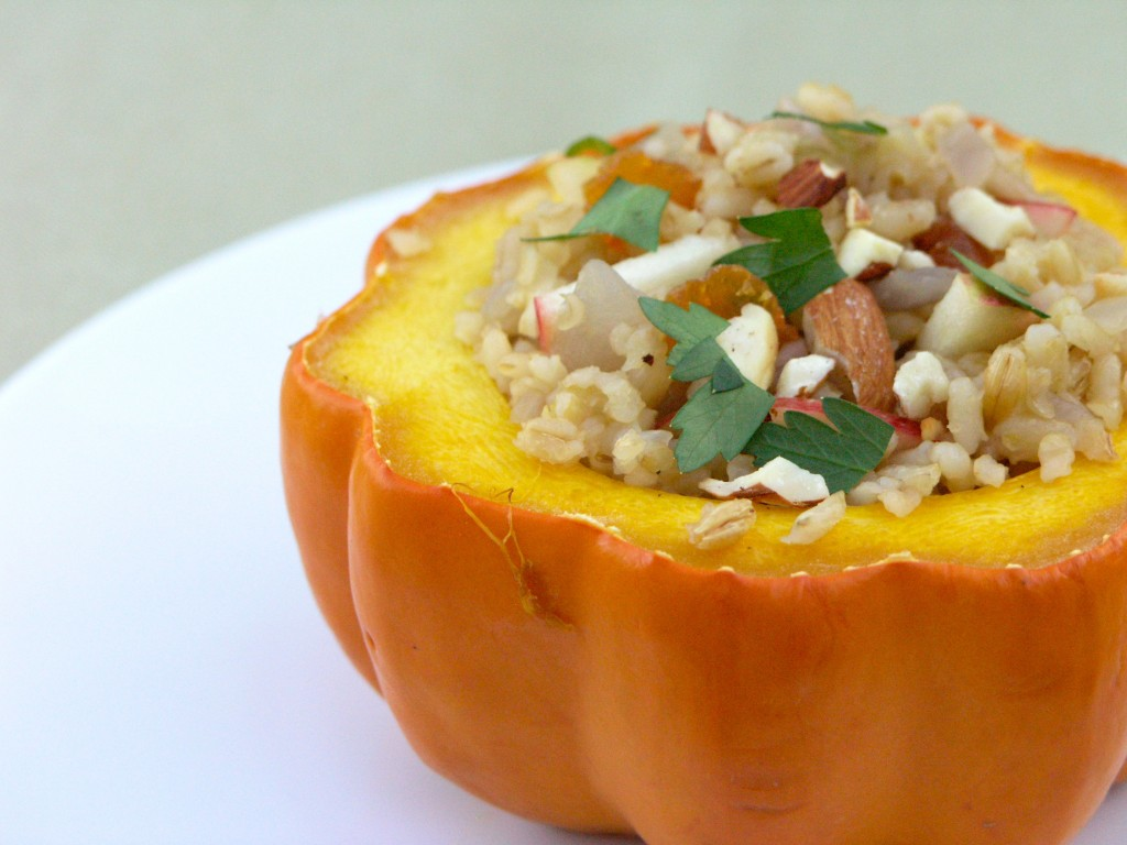 Roasted, Stuffed Acorn Squash: Barley-Bulgur Pilaf with Caramelized ...