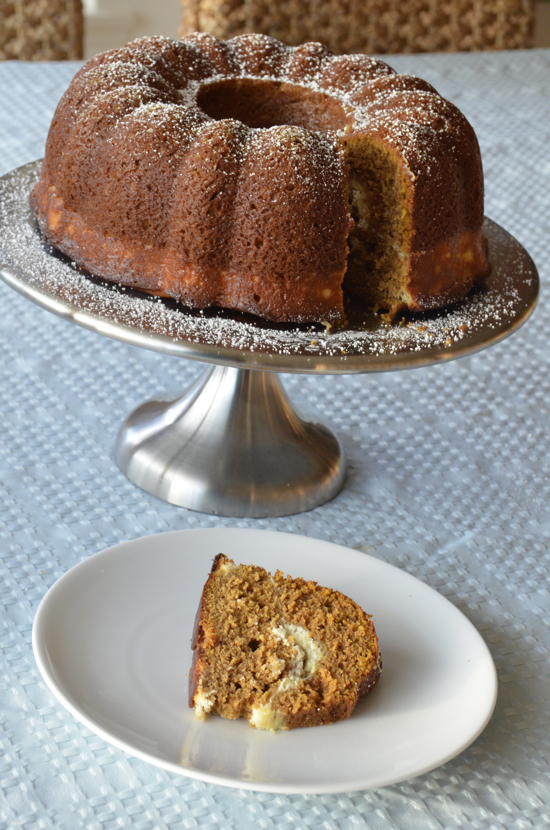 Pumpkin Spice Bundt Cake With Peekaboo Cream Cheese Filling ...