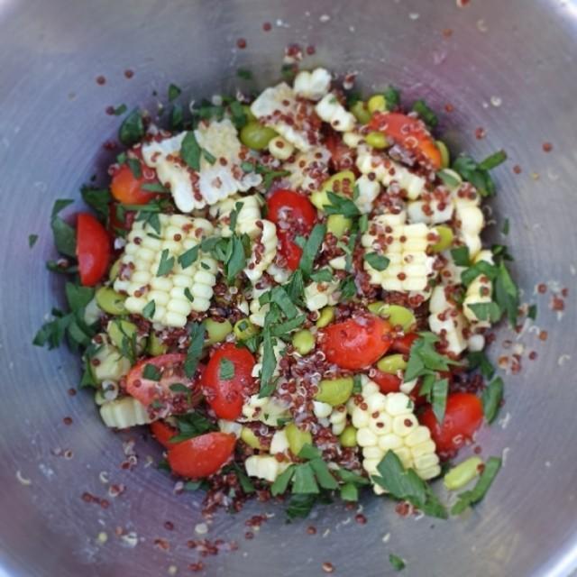 Quinoa, corn, edamame salad